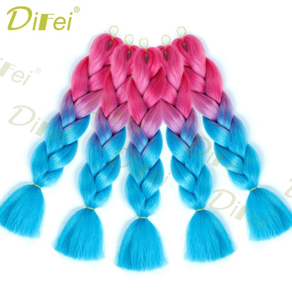 2019 Fashion Difei 24inch Synthetic Jumbo Braids Hair 100g/pack Kanekalon Hair Blonde Pink Blue Braiding Hair Extensions Crochet Hair Hair Braids