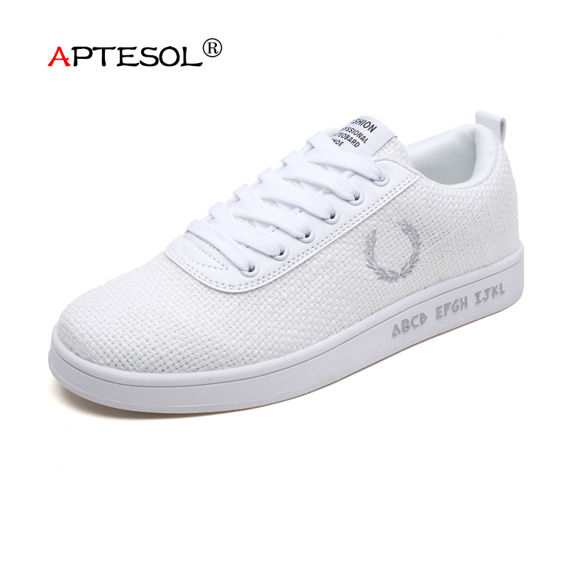 APTESOL Fashion Men's Hemp Vulcanize Shoes Daily Summer Comfortable Lace-up Flat Shoes Lightweight Breathable Sneakers for