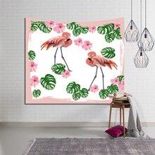Nordic Tropical Wall Hanging Tapestry Flamingo Plant Pattern Printed Macrame Bohemia Fashion Beach Towel Table Cloth