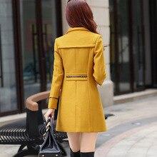 Women Wool Blend Warm Long Coat Plus Size Female Slim Fit Lapel Woolen Overcoat Autumn Winter  Cashmere Outerwear