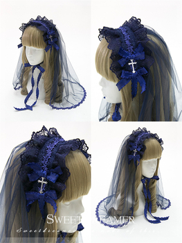 Gothic Lace Headband Cross Headwear Bow Hairpin Vintage Flowers Veil Cosplay Accessories Lolita Headdress Four Colors Available 1