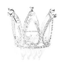 Mini Women Girl Rhinestone Crown Bridal Tiara Hair Comb Pin For Wedding Party  -W128