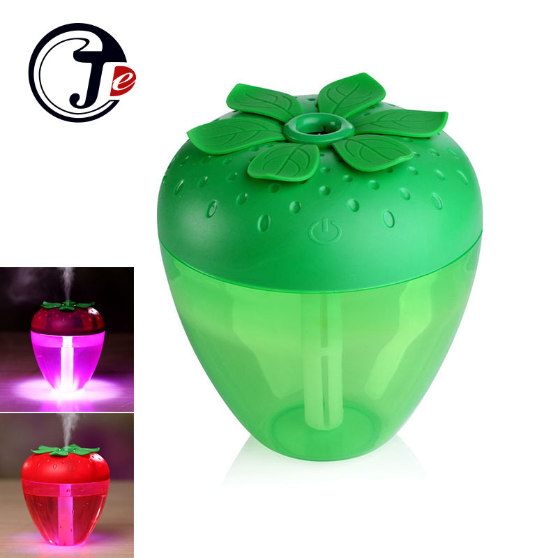 180ML Cute Strawberry Humidifier for Home Car Mist Maker Fogger with LED Light Mini USB Humidifier Air Purifier Fresher Atomizer dc 5v usb ultrasonic humidifier air purifier for car mini fogger atomizer with led lights 175ml mist maker