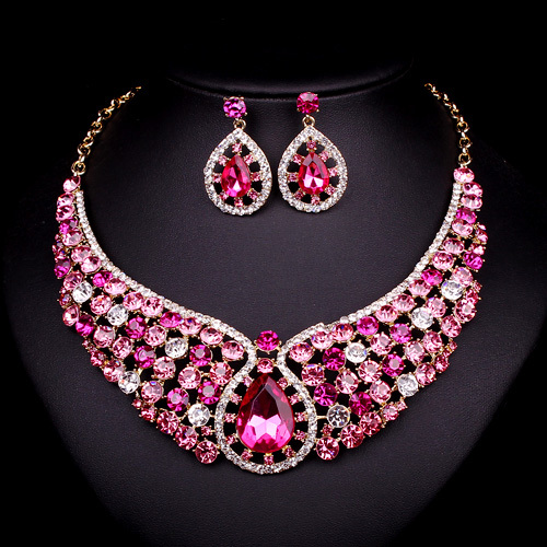 Fashion pink crystal necklace earrings bridal indian for Costume jewelry for evening gowns