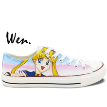 Wen Anime Hand Painted Sneakers Design Custom Sailor Moon Low Top Man Woman's Canvas Shoes for Christmas Gifts