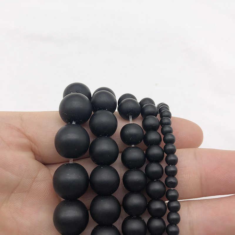 الحجر الطبيعي الأسود مملة البولندية ماتي agat الجزع الصقيع الزجاج الخرز سوار امرأة 4 6 8 10 12 14 مللي متر صالح DIY بها بنفسك لصنع المجوهرات