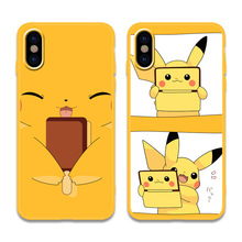 Cute anime Pocket Monsters pokemons candy yellow phone case For coque iphone 7 7plus silicone for cover X XS MAX XR