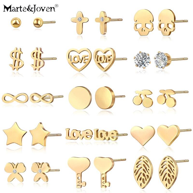 Marte&Joven Gold Color 316L Stainless Steel Stud Earrings Set Fashion Cross/Skull/Heart/Round Hypoallergenic Ear Studs for Women