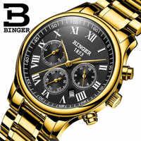 Switzerland BINGER Мужские механические часы Лидирующий бренд роскошные золотые шесть игл из нержавеющей стали три небольших циферблата автоматич...