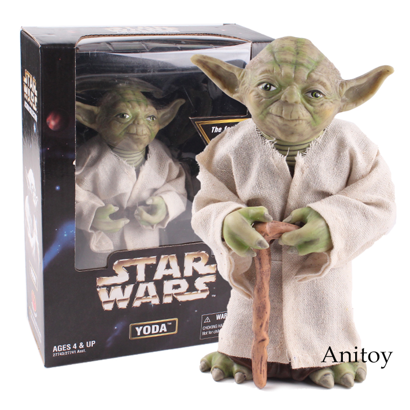 Anime Star Wars Jedi Knight Master Yoda Action Figure PVC Collectible Toy Gift 18cm star wars jedi knight master yoda pvc action figures toys collection brinquedos great gifts for kids 5 12cm