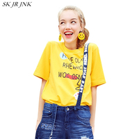 2017 New Fashion Summer Women Loose Casual Cotton Cute Round Collar Short Sleeve T Shirt Letter