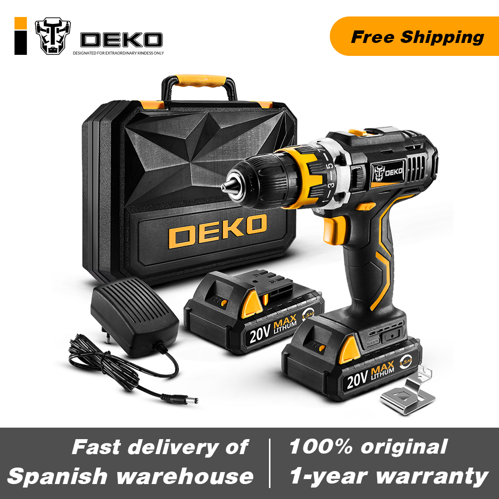 Original DEKO GCD20DU2 20V MAX Cordless Drill Electric Screwdriver Lithium-Ion Mini Power Tools Variable Speed With LED Light