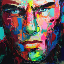 Palette knife painting portrait Face Oil Impasto figure on canvas Hand painted Francoise Nielly 15-28