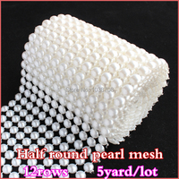 2014 New Real 5 Yard 12rows White Pearl No Rhinestone Trims Plastic Mesh Trimming Sewing For