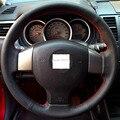Tampa Da Roda de Direcção Do Carro de Couro preto Mão-costurado para o Velho Nissan Tiida Livina Sylphy Nota