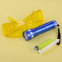 DWCX New 14 LED Flash de Luz de Segurança Do Carro Da Moda Óculos com Fluorescente Óleo Ar Condicionado A/C Gás Detecção de Vazamento De UV Kits