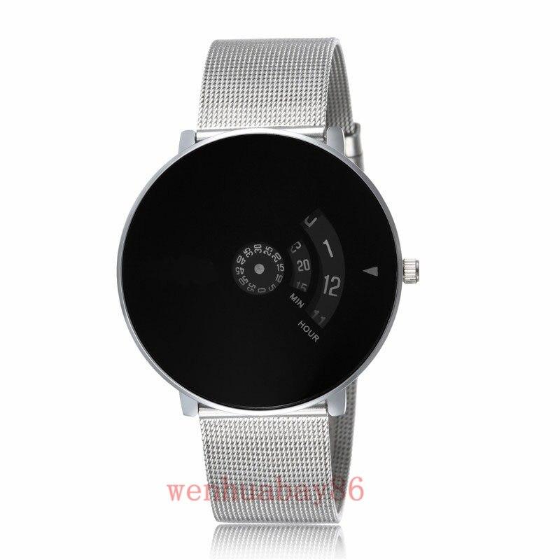 New Men Women Silver Top Brand Black Dial Quartz Wrist Watch Turntable Hour Analog Good Quality