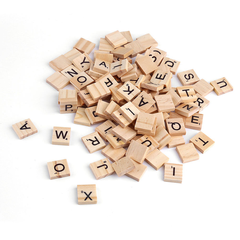 Free Shipping New Arrival 100pcs/lot Wooden Alphabet Scrabble Tiles Black Letters & Numbers For Crafts Wood