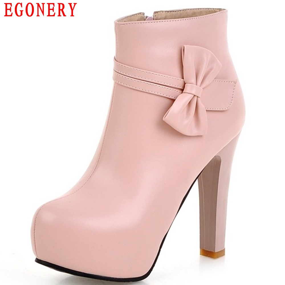 EGONERY Spring Autumn PU Leather Sweet Bowtie Zipper Ankle Ladies Boots Zipper Supper High Heels Womens Boot Shoes Plus Size egonery quality pointed toe ankle thick high heels womens boots spring autumn suede nubuck zipper ladies shoes plus size