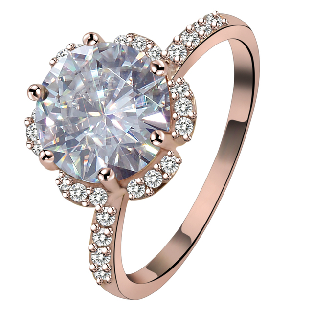 4 Carat Big Cubic Zirconia Rings Silver Rose Gold Color Austrian
