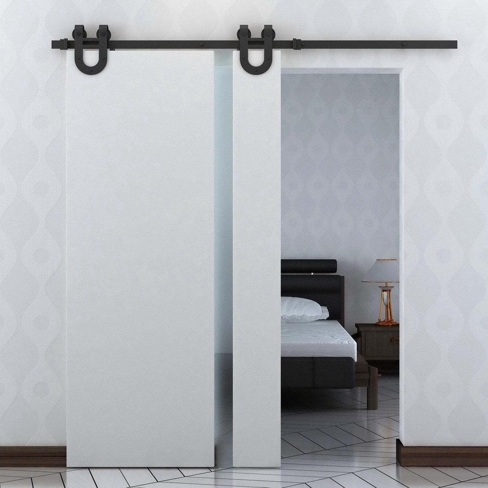 10 16ft interior barn door kits sliding door track rustic wood 10 16ft interior barn door kits sliding door track rustic wood hardware steel american arrow style black barn door hardware kits in doors from home planetlyrics Images