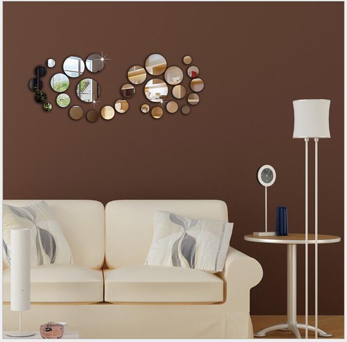 Fashion Mirror Wall Sticker 3D 28pcs Circle Mirror Wall Stickers Acrylic Vinyl Decal Home Office Art Decor