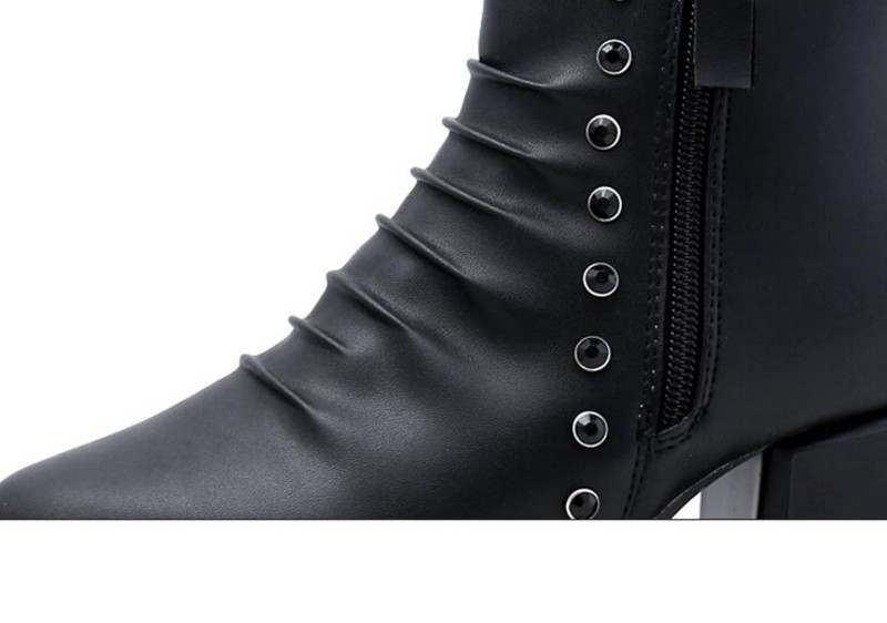 COOTELILI  Women Boots Ankle Boots 2018 Winter Shoes 5.5cm High Heels Diamond Shoes Rubber Boots Woman Round Toe Pumps 35-39 (4)