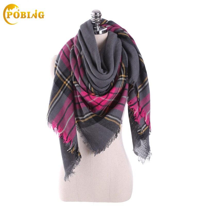 [POBING] ZA Brand Winter Scarf Women Plaid Square Cashmere Scarf Blanket Unisex Thicken Wrap Shawl Warm Pashmina Cape cachecol