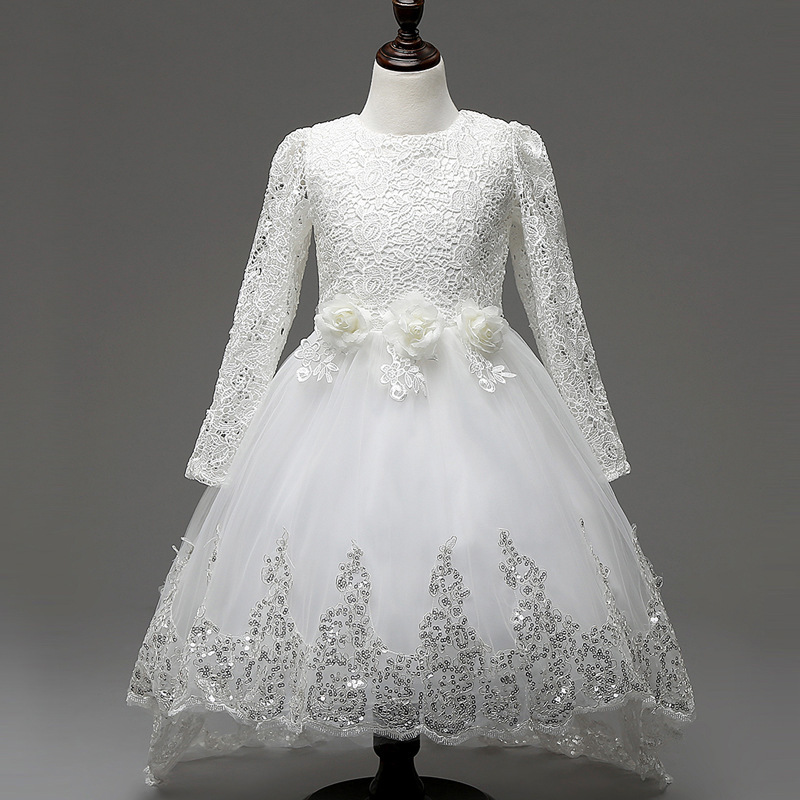 цены 2018 Top Fashion Autumn And Winter Children's Garment Girl Party Wedding Dress Long Sleeve Guipure Lace Fabric Girls Clothes