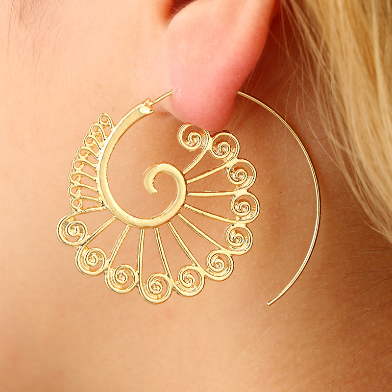 Punk Gold Sliver Hollow Spiral Dangle Earrings for Women Ladies Tribal Gear Drop Earring Circle Ear Festival Jewery 5E643 circle