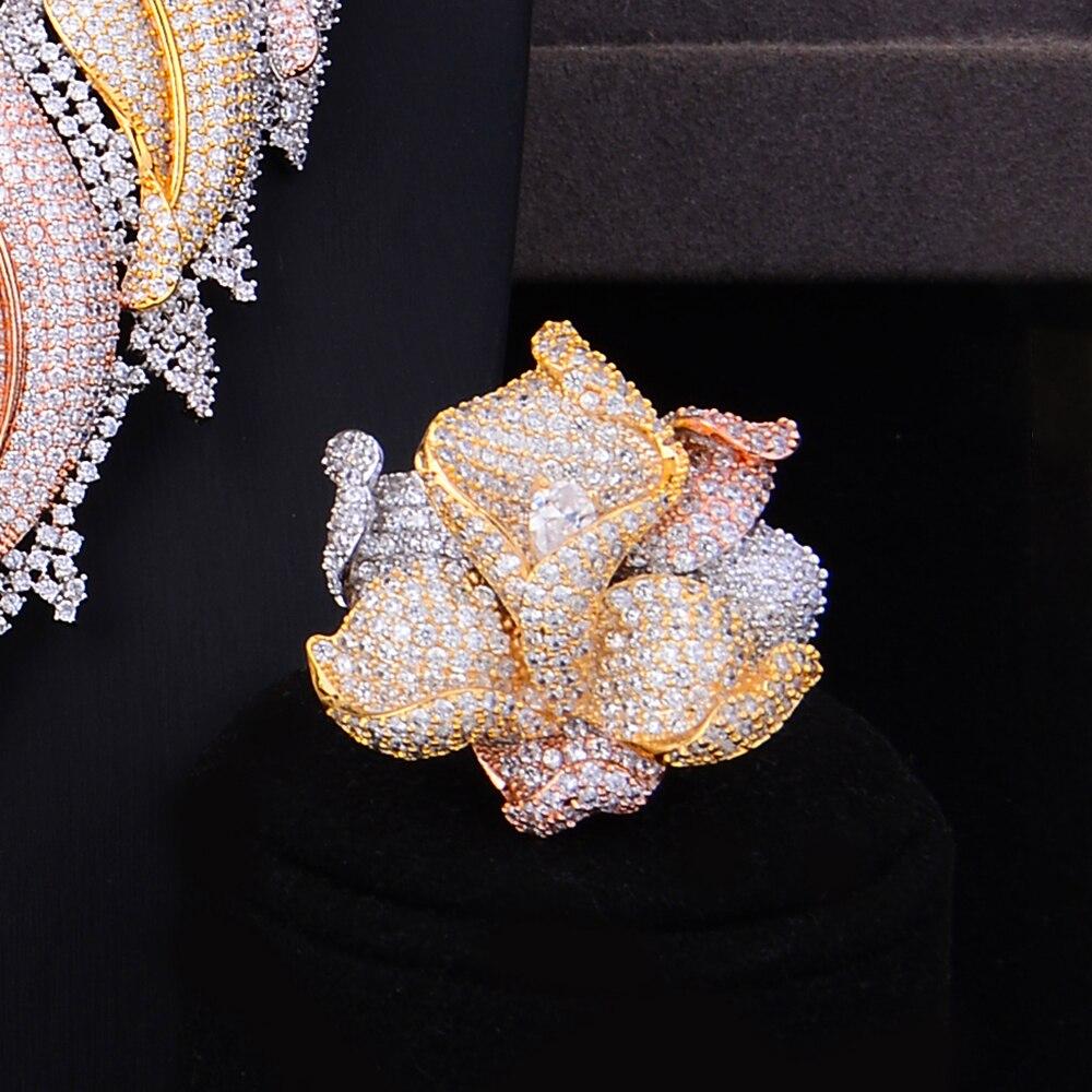 Image 4 - GODKI Trendy Luxury 4PCS Flower Nigeria Statement Jewelry Sets For Women Wedding Full Cubic Zircon Dubai Bridal jewelry Set 2019-in Jewelry Sets from Jewelry & Accessories