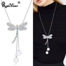 dcd9fe948b0c RAVIMOUR collar de moda para mujer joyería de cristal de insectos libélula  collares largos y colgantes de plata creada perla Col.