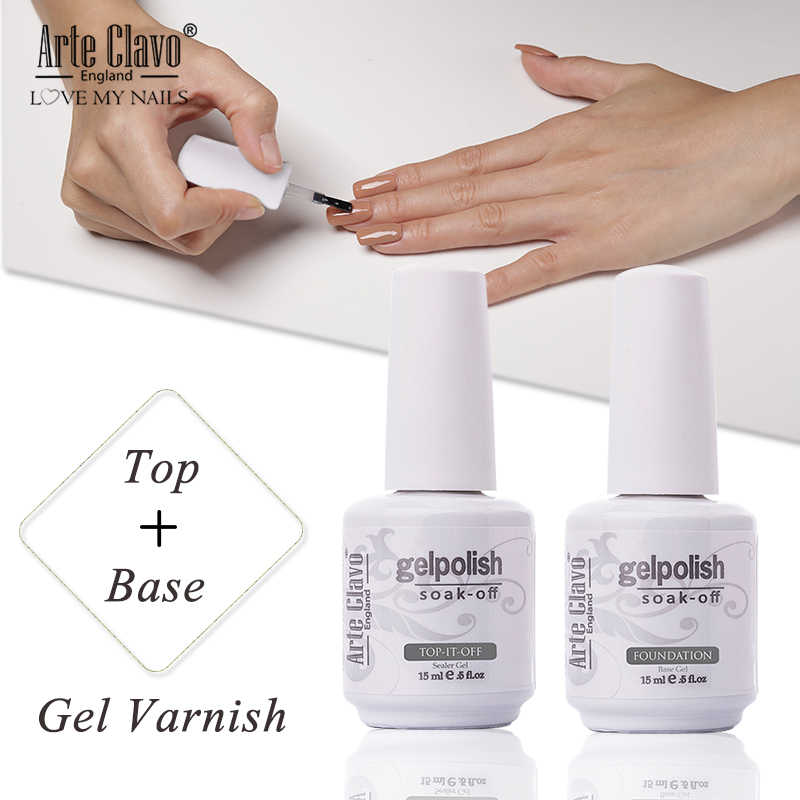 Seni Clavo Gel Varnish 15 Ml Base Coat Gel Top Coat Nail Art Lacquer Rendam Off Gel Cat Kuku UV LED Nail Primer UV Mantel