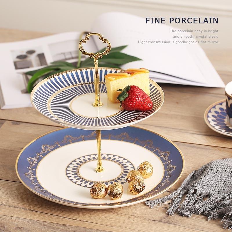 Скандинавский стиль двухслойная подставка для торта керамическая столовая посуда из китайского фарфора фруктовый торт десертная тарелка ... - 5