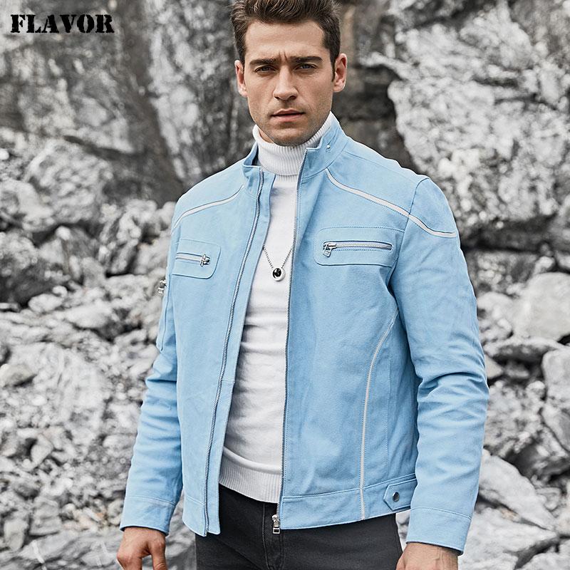 FLAVOR Men's Real Leather Jacket Men Pigskin Biker Leather Coat Blue Coat With Standing Collar