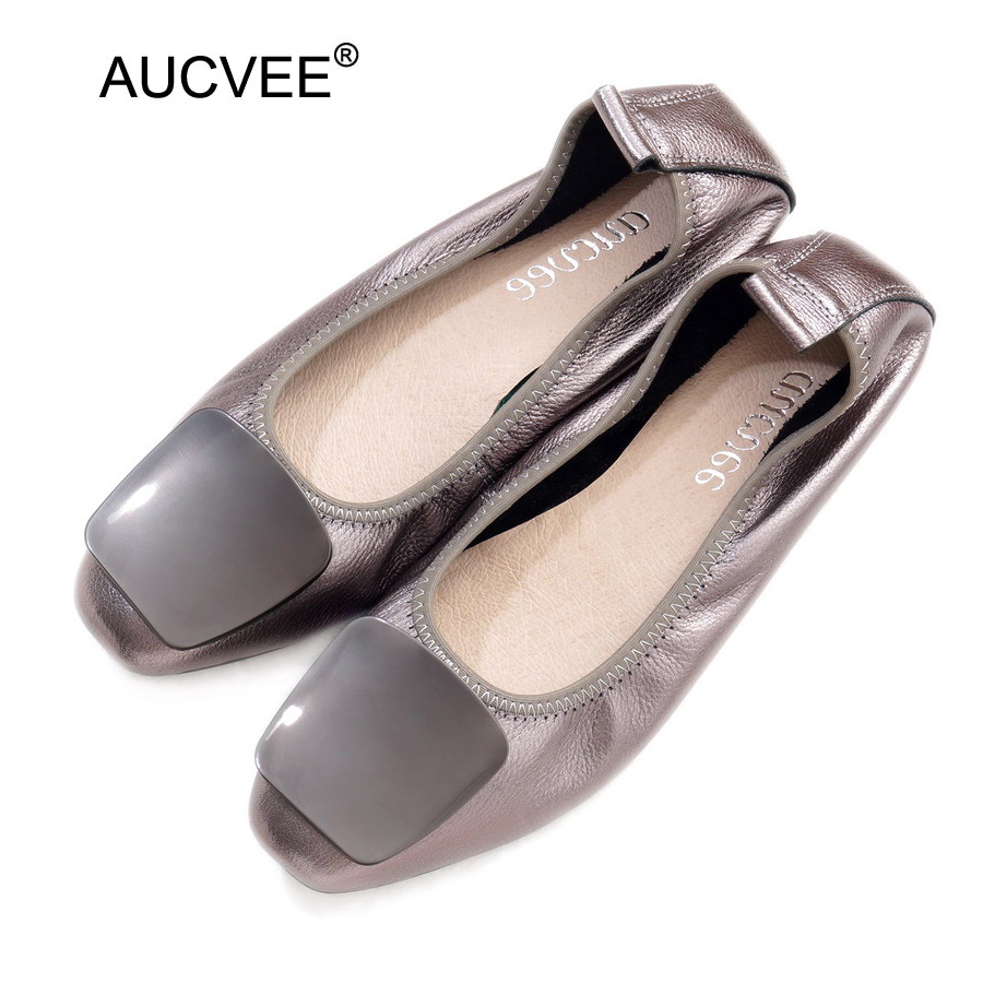 Genuine Leather Ballerina Luxury Shoes Women Designers Causal Slip-on Silver Loafer Shoes For Women Spring Autumn Ballet Flats