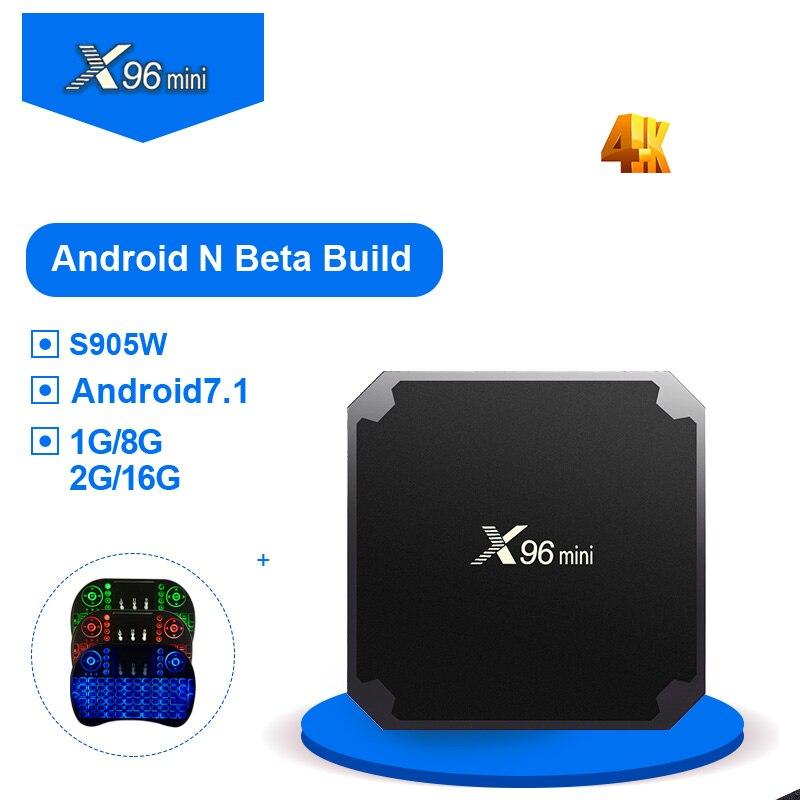 X96 mini android tv box Smart Set Top Box Android 7.1 1G8G 2G16G x96mini Amlogic S905W 2.4 GHz WiFi Supporto 4 K Media Player