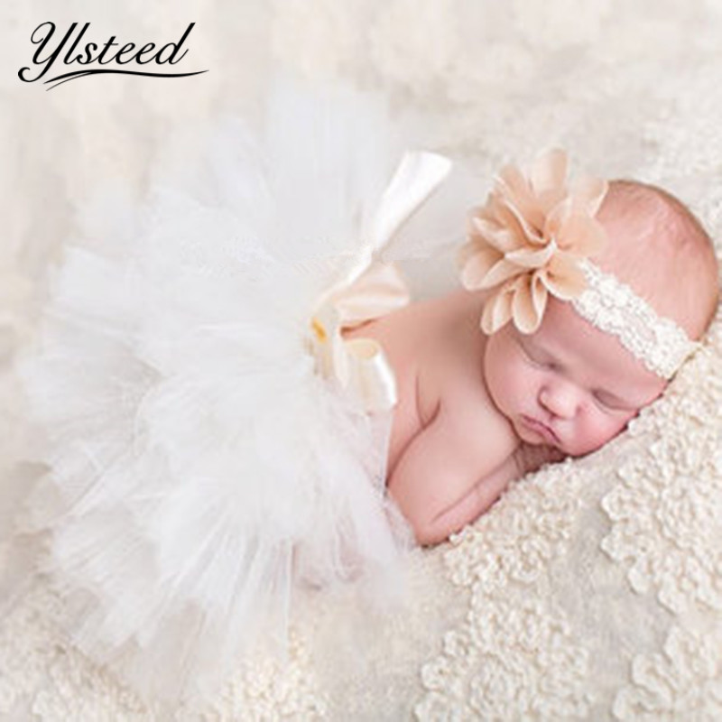 Infant Baby Girls New-born Flower Headband Dress Costume Set Photo prop Outfits