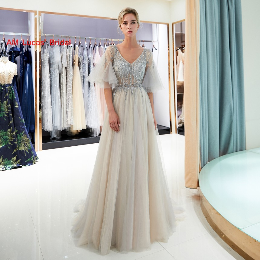 Detail Feedback Questions about Long Evening Dress 2019 New Women Formal  Gown For Prom Wedding Party Dresses Robe De Soiree Short Sleeves on  Aliexpress.com ... fcb8ef380de7