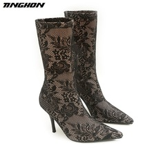 TINGHON 2017 new fashion Pointed lace flowers thin high heel Boots in the tube Socks boots