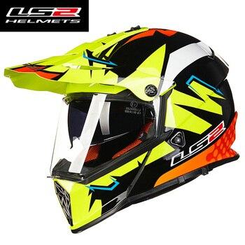 LS2 MX436 Pioneer Motocross casco fuera de la carretera Cascos Motos hombre Moto Cascos Cruz con doble lente capacete ls2 casco