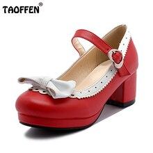 Taoffen/Для женщин обувь на толстом высоком каблуке Для женщин Лоскутная бантом с пряжкой в форме сердца ботинки на каблуках Женская Офисная повседневная обувь Размеры 28-43