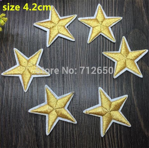 WL Nova chegada 10 pcs da Cor do Ouro pequena estrela Bordado remendos ferro em desenhos animados Motif Applique acessório bordado