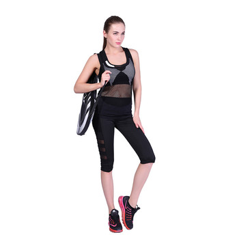 Women Solid Mesh Patchwork Yoga Pants Fitness High Waist knee-length Legging Pockets Women Sport Fitness Legging Running Pants 1