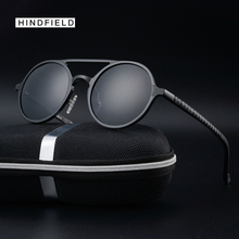 Hindfleld Luxury Vintage men Steampunk Sunglasses female Brand Design Round Men Polarized Goggles Alloy Oculos de sol uv400