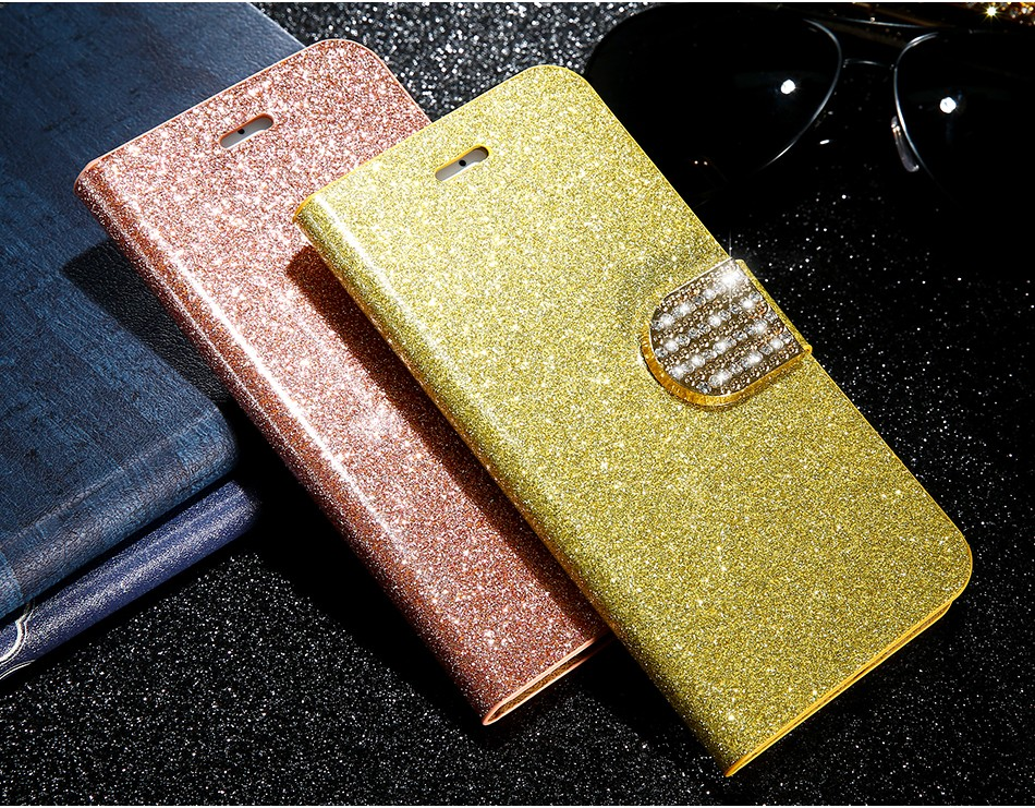 FLOVEME Luxury Bling Diamond Glitter Flip Case for Apple iphone 6 6S 7  Plus 5.5 Leather Girl Bag Wallet Stand Rhinestone Cover (3)