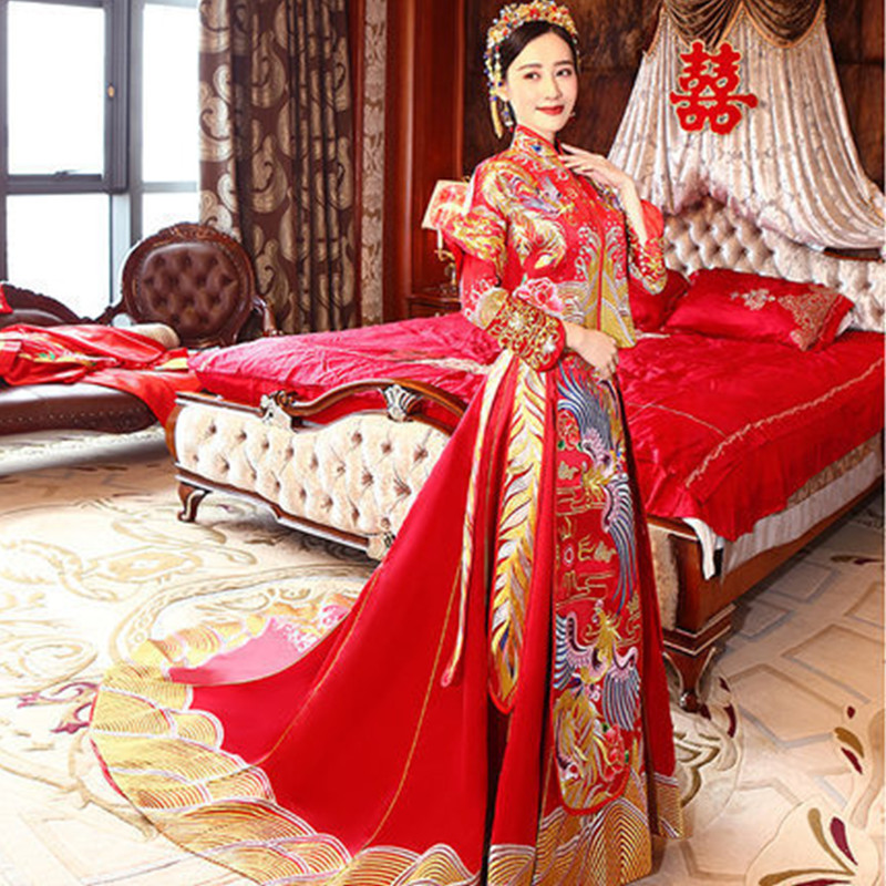 2018 Long Traditional Chinese Qipao Wedding Dress Vintage