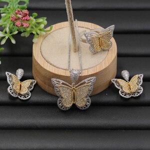 Image 3 - Lanyika Sieraden Set Stereo Graceful Vlinder Luxe Ketting met Oorbellen en Ring voor Engagement Micro Verharde Populaire Geschenken