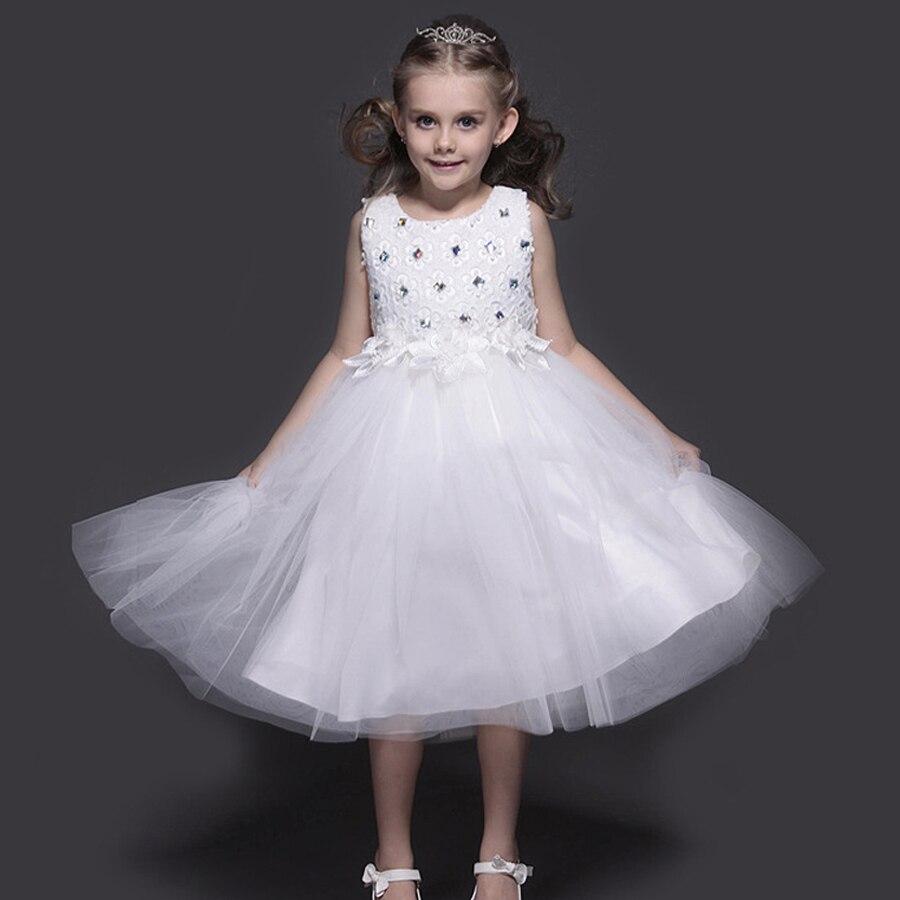 74b3147350e3 Bambini vestiti abiti estivi per le ragazze 2016 del partito di sera elsa  dress costume da principessa figli dei fiori di tulle da sposa vestido in  Bambini ...