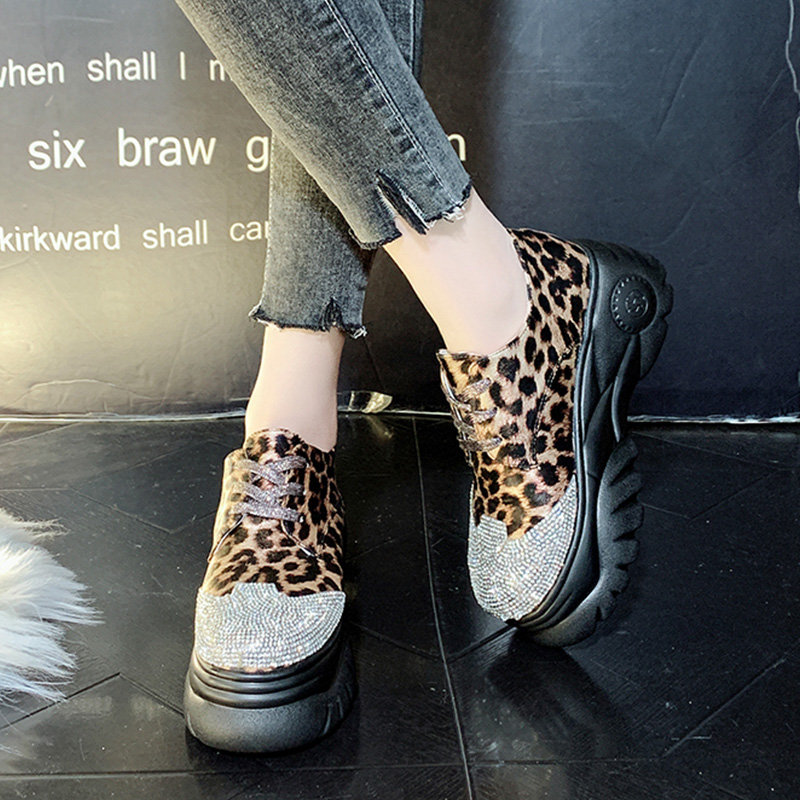 Moxxy New Spring Fashion Leopard Sneakers Women 2019 Ladies Glitter Casual  Platform Shoes Woman Chunky Sneaker 94d1a393220c